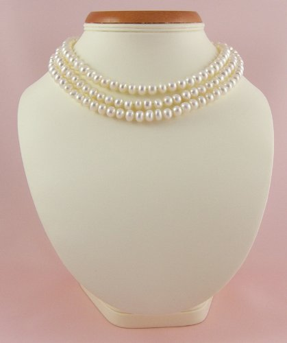 FIVE IN ONE White 50 inches 125cm 8-9mm Freshwater Pearl Long Rope Necklace with Sterling Silver Clasp presented in a pretty satin silk pouch . Click to see all five ways this can be worn