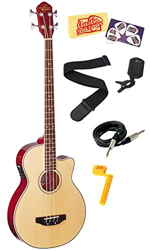 Oscar Schmidt Ob100 Acoustic-Electric Bass With Gig Bag Bundle With Instrument Cable, Strap, Tuner, Stringwinder, Picks, And Polishing Cloth - Natural