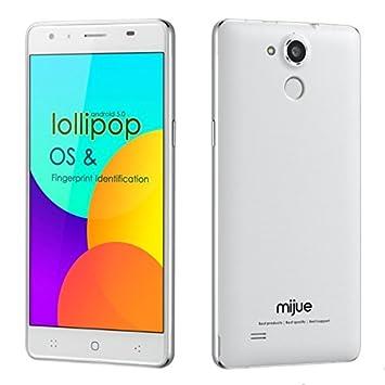 """Bestore® - mijue T5 MT6752 1.7GHz Octa noyau 5.5 """"IPS FHD 1080x1920 pixels d'écran Android 5.0 64bit Fingerprint Scanner 3G 16G RAM ROM 13.0MP Caméra double carte SIM 4G LTE déverrouillé Smartphone (blanc)"""