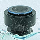 Baudio V15 Hot sale IPX6-7 Waterproof Mini Bluetooth Shower Speaker Enhanced Bass Audio Crystal Clear Sound with 8 Hours Playtime Built-in Microphone Hands-free Phone Calling and Answering with Suction Cups for Smart phones Iphone iPad Tablets MP3 Player Notebooks Great Sound For Your Shower Fun. (Black)
