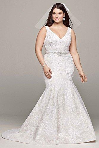 Plus Size Oleg Cassini Lace and Deep V Wedding Dress Style ...
