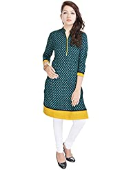 Beautiful Cotton Printed Green&yellow Color Kurti