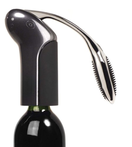 Metrokane Vertical Rabbit Lever Style Corkscrew with Foil Cutter, Velvet Black