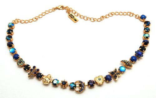 Enchanting 24K Yellow Gold Plated Necklace from 'Third Eye Chakra' Collection by Amaro Jewelry Studio with Heart, Butterfly, Flower and Crescent Moon Links Featuring Lapis Lazuli, Onyx, Abalone Blue, Cat's Eye and Swarovski Crystals