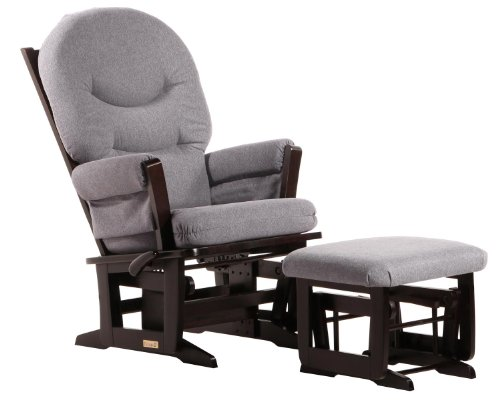Ultramotion by Dutailier Modern Glider and Nursing Ottoman Combo with ''C'' Cushion, Espresso/Dark Grey