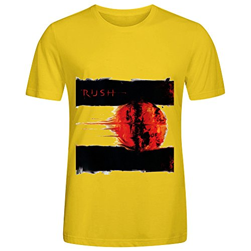 [Rush Vapor Trails R&B Album Cover Mens Crew Neck Casual Shirts Yellow] (Sweeney Todd Halloween)