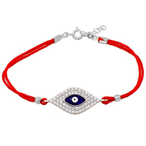.925 Sterling Silver Red Cord White Crystals Cz Hamsa Evil Eye Womens Girls Bracelet