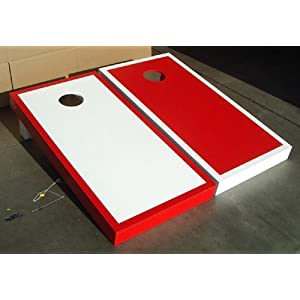 WHITE & RED Alternating Border Cornhole Bean Bag Toss Game