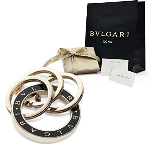 【ギフトラッピング済み】 BVLGARI ブルガリ キーリング キーホルダー 刻印 ロゴ ゴールド プレート 正規品 ブランド アクセサリー メンズ レディース ( ブラック)