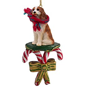 King Charles Cavalier Spaniel Dogs Candy Cane Christmas Ornament New