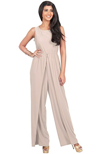 KOH KOH Women's Sleeveless Slimming Flared Pantsuit One Piece Jumpsuit Romper - Large - Light Brown (Cocktail Pant Suits compare prices)