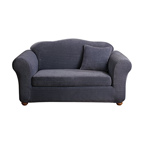 Sure fit stretch royal diamond 2 piece loveseat slipcover storm blue sf43407 home garden Blue loveseat slipcover