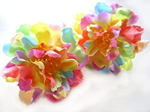 TAN Silk Peony heads Artificial Flower Hair clips for Wedding Hats Headbands 6 inches