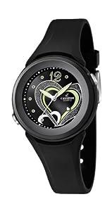 Calypso watches - Reloj analógico de cuarzo para niña con correa de caucho, color negro