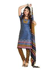 Fabdeal Blue Pure Cotton Printed Salwar Kameez Dress Material