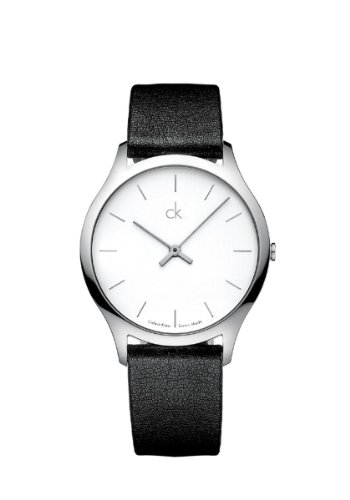 Calvin Klein Quartz Black Patent Leather Strap White Dial Men's Watch K2621120