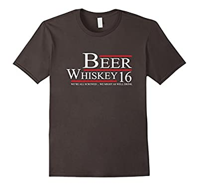 Beer & Whiskey for President Shirt. Funny Drinking Shirt.