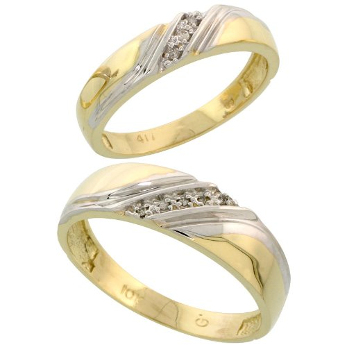 The Bridal Ring Sets 10k Yellow Gold Diamond Wedding Rings Set for him 6 mm