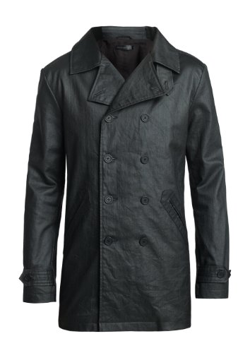 MENS COATED DENIM DOUBLE BREASTED TRENCH COAT - LARGE 42