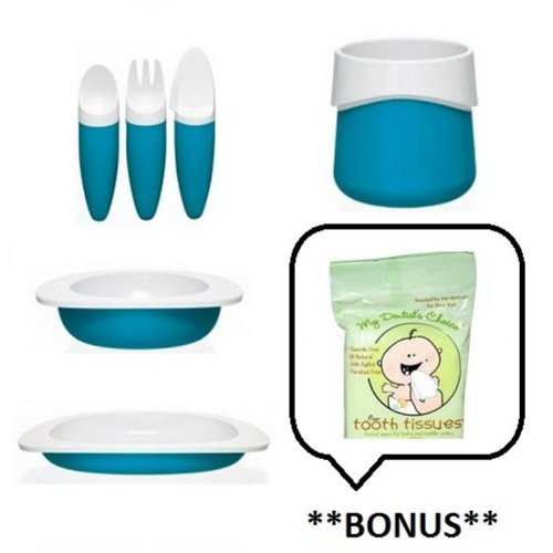 Complete Set (Color: Blue) of Fabrikators/Toddler 3-Piece Utensil Set + Cup + Bowl + Flat Plate with **BONUS** Sample of Tooth Tissues