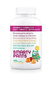 SmartyPants Women's Complete Gummy Vitamins: Multivitamin, CoQ10, Folate (Methylfolate), Vitamin K2, Vitamin D3, Biotin, B12 (Methylcobalamin), AND Omega 3 DHA / EPA Fish Oil, 180 count