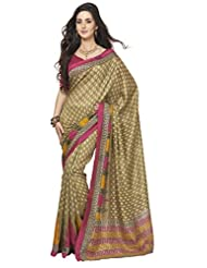 Saraswati Indian Bhagalpuri Silk Brown Printed Saree Sari
