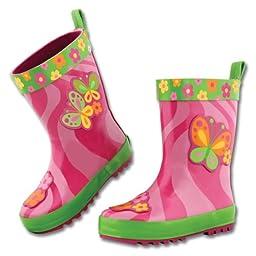 Stephen Joseph Little Girls\'  Rain Boot, Butterfly, 9