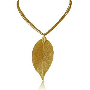 Designer 24K Gold Overlay Leaf Pendant on Multi Chain Necklace