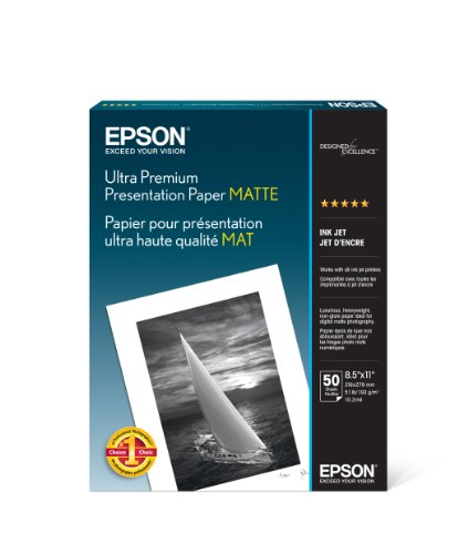 Epson Ultra Premium Presentation Paper MATTE (8.5×11 Inches, 50 Sheets) (S041341)