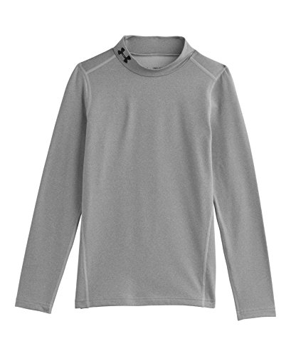 Under Armour Youth Boys' ColdGear Evo Fitted Long Sleeve Mock Shirt, True Gray Heather/Black, X-Large
