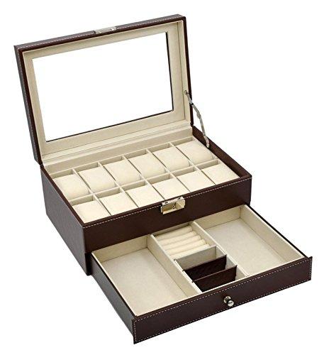 Autoark AW-003 Brown Leather 12 Mens Watch Box with Jewelry Display Drawer Lockable Watch Case Organizer