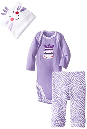Gerber Baby-Girls Newborn 3 Piece Bodysuit Cap And Pant, Zebra, 3-6 Months back-1065764