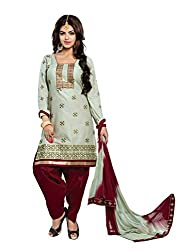 RK Fashion Womens Cotton Un-Stitched Salwar Suit Dupatta Material ( YOGESH-YCM-MUSKAN-1013-Off-White-Free Size)