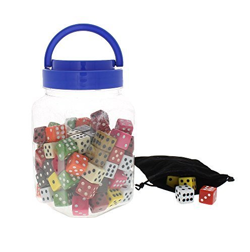 Math Dice - Traditional Colored Dice - Board Game, Casino, Vegas Dice with Bucket and Black Bag - 100 Pieces