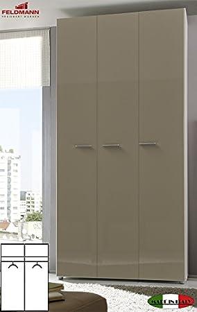 Kleiderschrank Schlafzimmerschrank 55047 3-turig weiß / sand Hochglanz 120cm