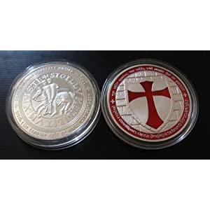 1 Ounce Knights Templar Cross Masonic Freemason Silver Coin + Case