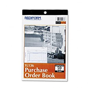 Rediform Purchase Order Book, 2 Part, Carbonless, 5.5 x 8.5 Inches, 50 Forms (1L136)