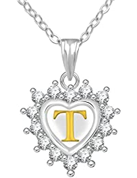 Jewelscart Silver Plated AD Alphabet Letter T Valentine Heart Pendant With Chain