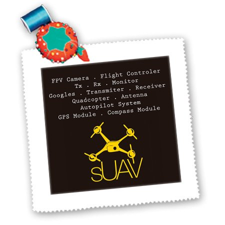 Qs_179947_3 Kike Calvo Drone And Unmanned Vehicle Collection - Black And Yellow Drone With Description Of Accessories - Quilt Squares - 8X8 Inch Quilt Square