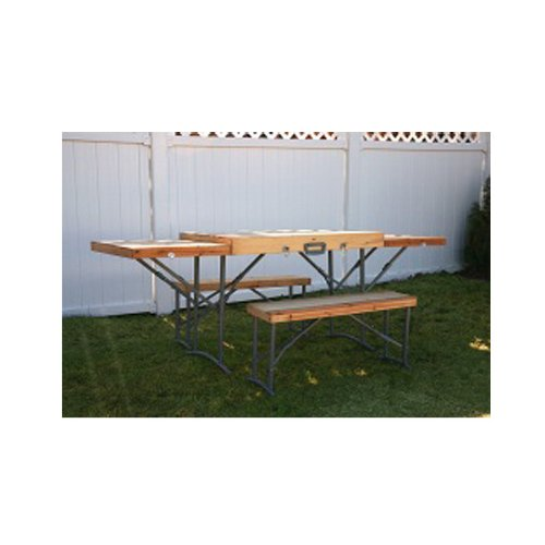 Portable Foldable Wooden Picnic Table And Bench Folding Table On The Go Collapsible Table