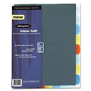 Wilson Jones View-Tab Professional Sorter, 8 Tabs, Letter Size, Multi-Color (W55121)