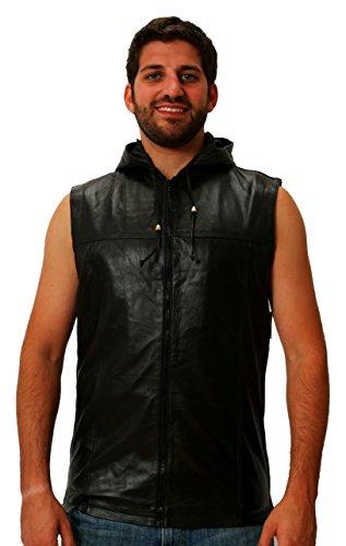 Leather Hooded Sleeveless Vest