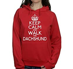 Keep calm and walk the Dachshund womens hooded top pet dog gift ladies Red hoodie white print
