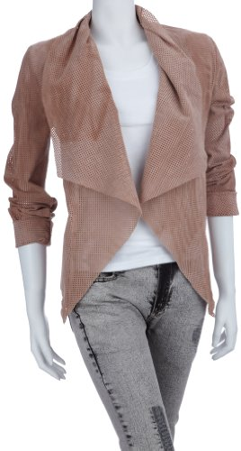 Lipsy Womens Perforated Waterfall Jacket Nude Ou00424 12
