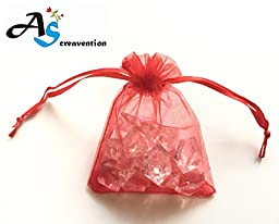 A&S Creavention? Organza Drawstring Jewelry Pouches Bag Party Wedding Gift Bags Candy Bags - 100pcs (7x9cm, Red)