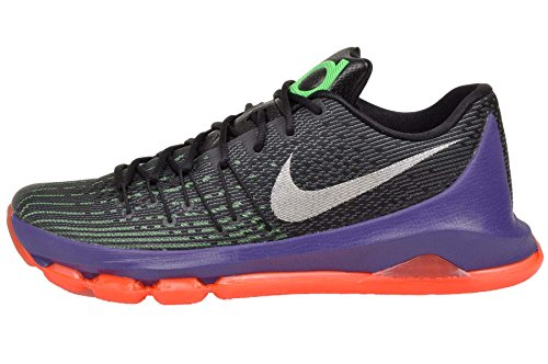 Nike Mens KD 8 Fashion Sneakers Black/White-Green Shock-Hyper Orange