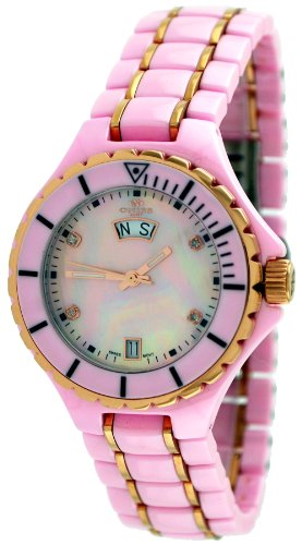Oniss #ON8015-LDDRG4 Womens Midsize Rose Gold Trim Pink Ceramic Watch