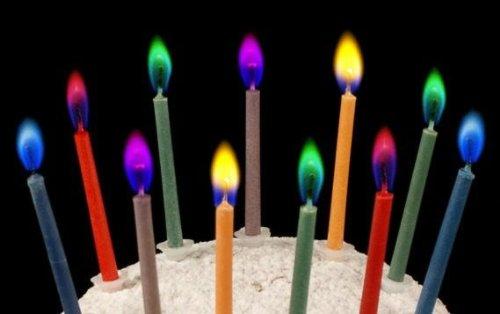 誕生日 クリスマス ケーキ用ろうそく 【カラーフレームバースデーキャンドル 5色セット】×2セット (合計10本) カラフルカラーの炎 ロマンチックなキャンドル 【kj208】