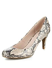 Faux Snakeskin Design Extra Wide Court Shoes