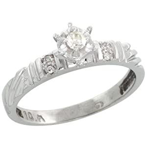 Sterling Silver Diamond Engagement Ring, w/ 0.06 Carat Brilliant Cut Diamonds, 1/8in. (3.5mm) wide, Size 6.5